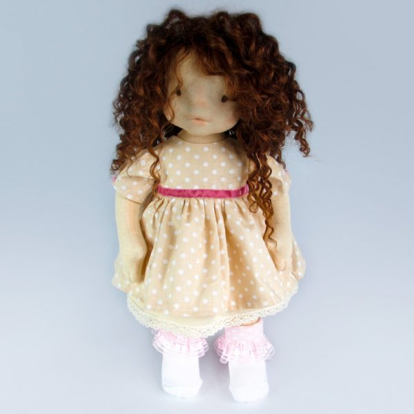 Cute Doll - Waldorf with curly hair from alpaca