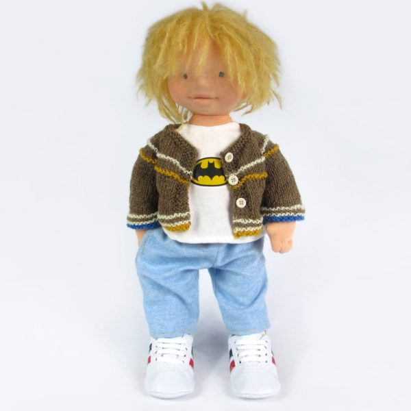 waldorf doll boy with batman shirt