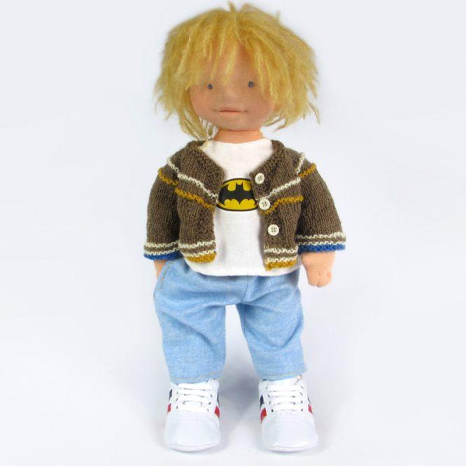 waldorf doll boy with batman shirt