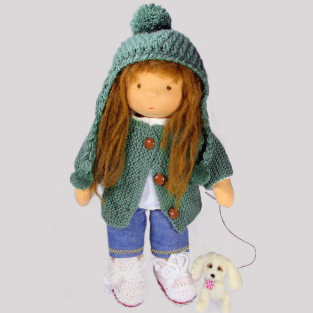 Steiner doll with felted poodle