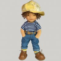 Waldorf inspired doll boy with yellow hat