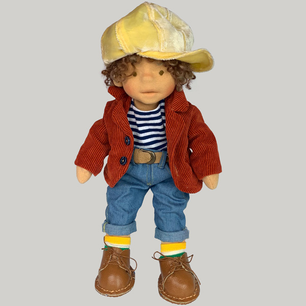 Waldorf inspired doll boy with yellow hat, red jacket, jeans, socks and handmade shoes