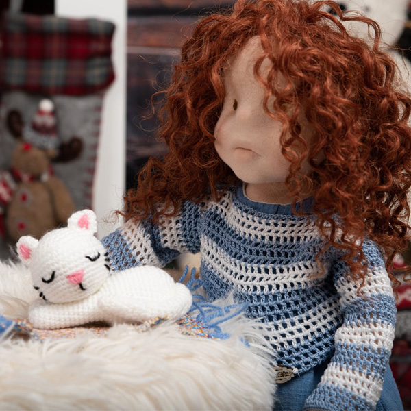 Waldorf inspired doll with crocheted cat