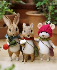 Felted bunny, felted squirrel and cute mouse from felt