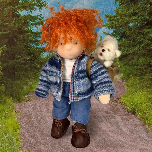 Кукла момче с пудел и раница